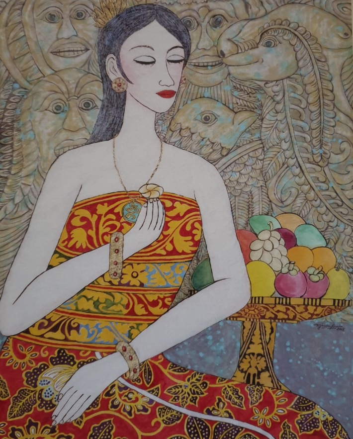 """""""A New Spirit of Balinese Tradition"""", 2019 - Tjandra Kirana Watercolor on Chinese Paper"""