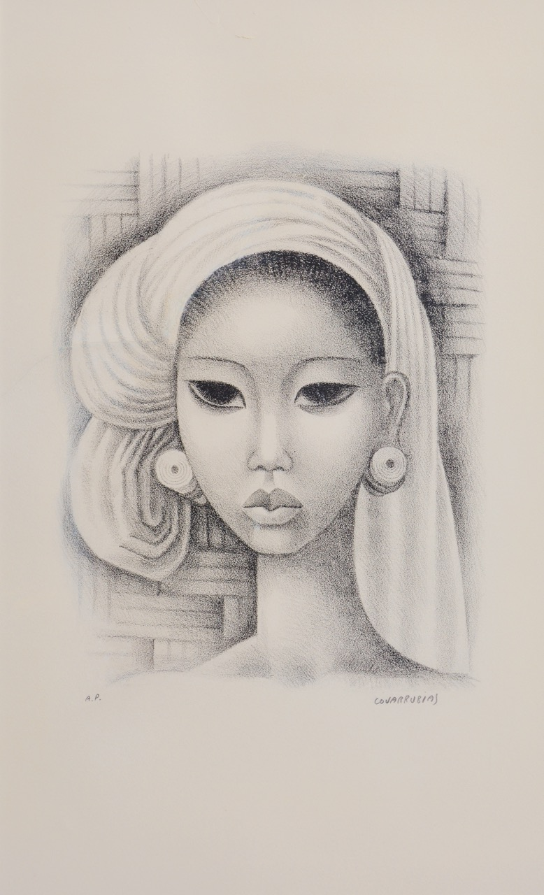 "Lot 706 ""Head of Ayu Ketut"" Miguel Covarrubias, lithograph. Image courtesy Larasati"