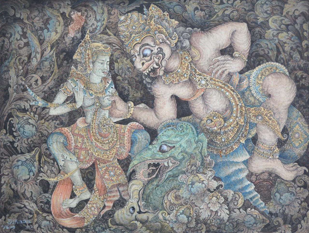 "Lot 723 ""Wayang Scene"" - Made Sukada, watercolour & ink on paper. Image courtesy of Larasati"