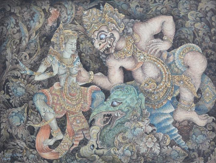 "Lot 723 ""Wayang Scene"" - Made Sukada, watercolour & ink on paper. Image courtesy of Larasati"