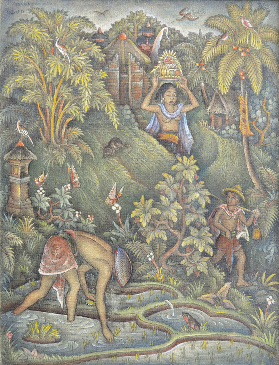 "Lot 753 ""Woman with Offering at the Sawah Scene"" - Ida Bagus Made Poleng Acrylic on canvas. Image courtesy of Larasati"