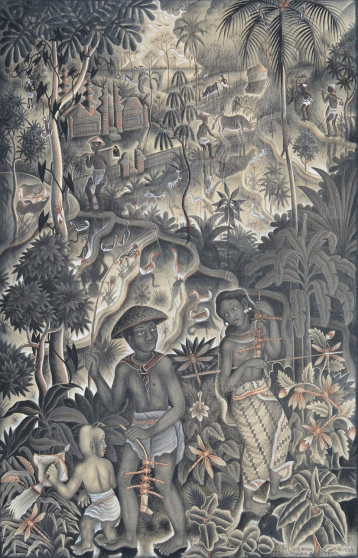 "Lot 769 ""Berburu Campung"" - Ida Bagus Made Nadera Acrylic on canvas. Image courtesy of Larasati"