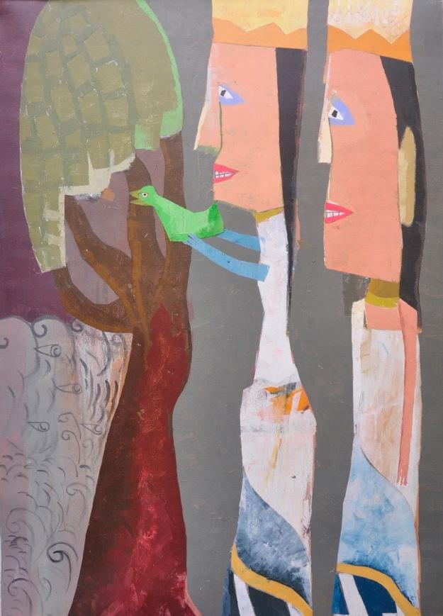 "Lot 783 ""Love Bird"" 2007 - Ketut Teja Astawa Acrylic on canvas. Image courtesy of Larasati"
