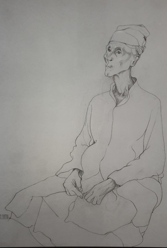 Balinese priest sketch by Geneieve Couteau