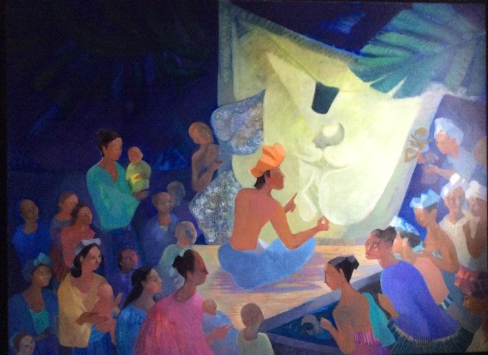 Huile sur toile le théâtre d'ombres 130-97 encadre