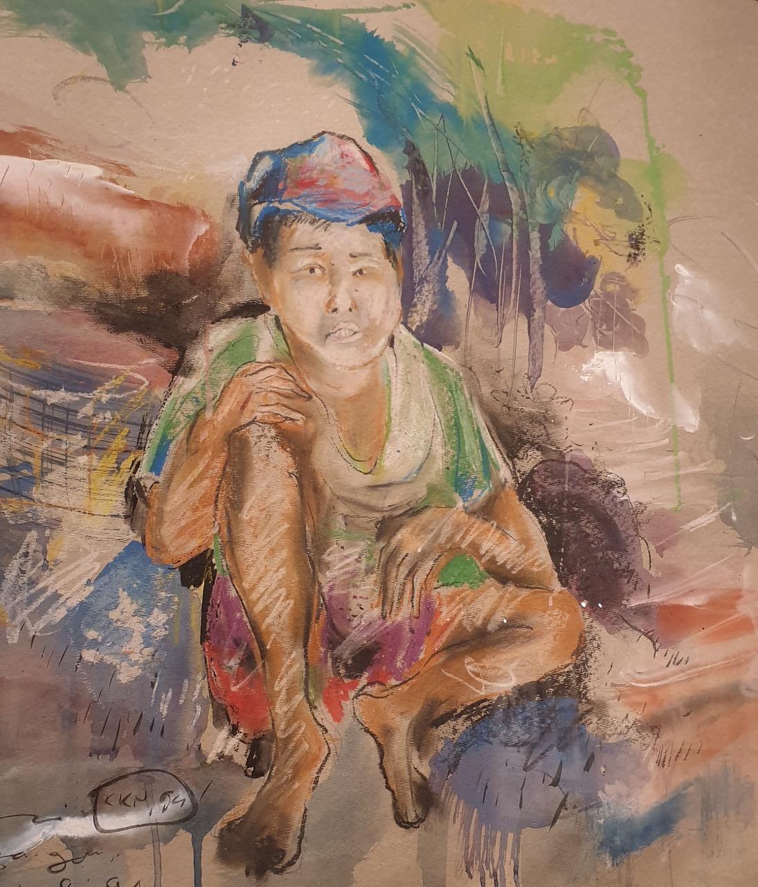 Detail of watercolour composition on paper by Nyoman Sukari , circa 2008 - 2009 - Image Richard Horstman