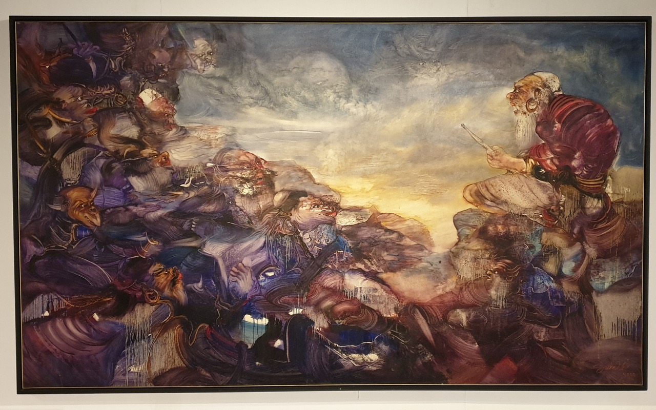 """Dialog"" 2005 - Nyoman Sukari, 150 x 250cm, oil on canvas. Image Richard Horstman"
