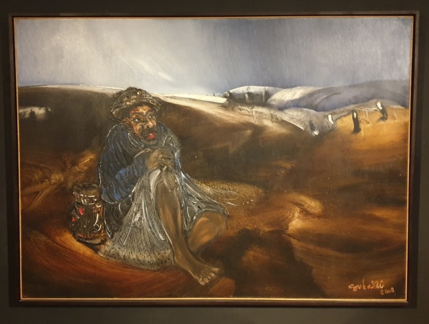 """Menunggu Cuaca"" 2008 - Nyoman Sukari, 145 x 200cm, oil on canvas. Image Richard Horstman"