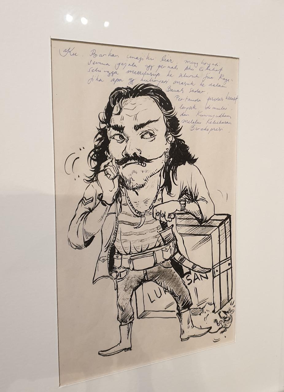 Nyoman Sukari self portrait in ink on paper circa? Image Richard Horstman