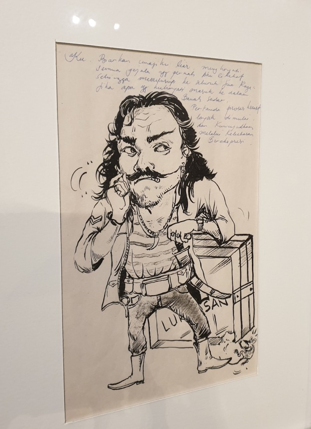 Nyoman Sukari self portrait in ink on paper circa? Image Richard Horstman