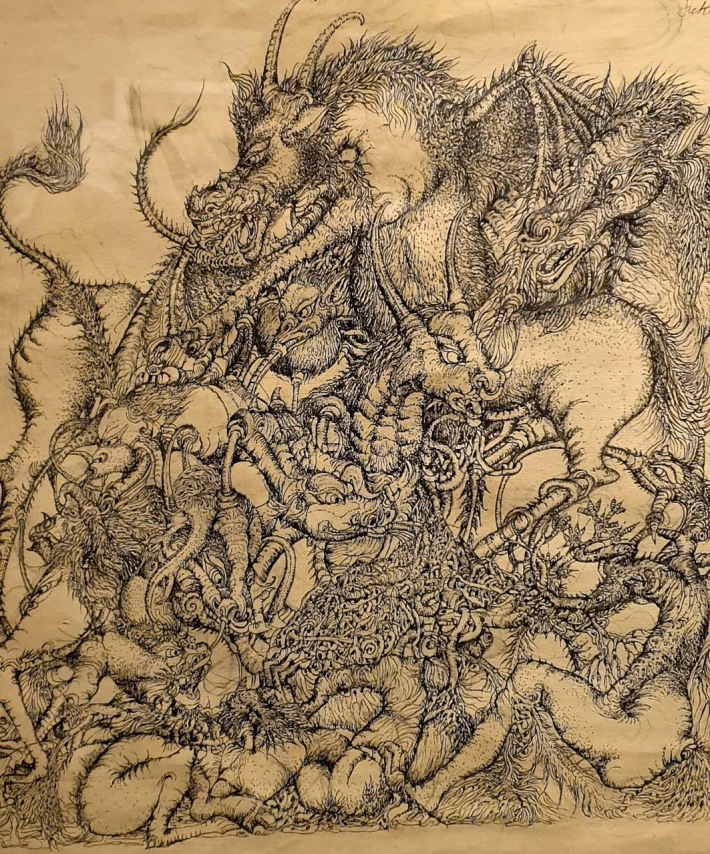 Pen sketch on paper by Nyoman Sukari, circa 2008-2009. Image Richard Horstman