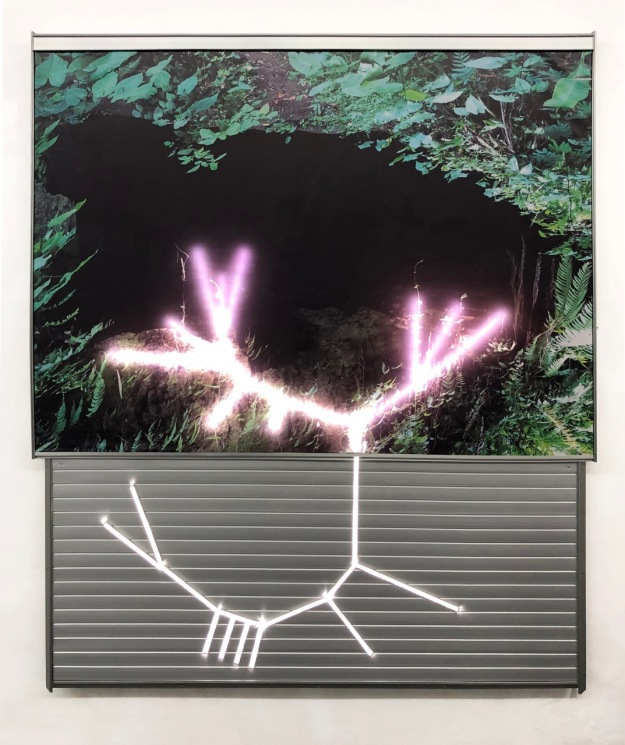 """Lumina Clorofilliana"", 2019 Filippo Sciascia. Lacqured Photo Aluminium And Led Light. Image coutesy of Yeo Workshop"
