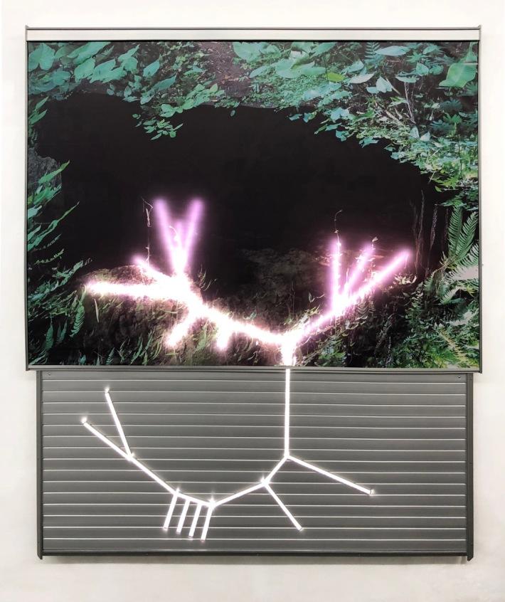 """""""Lumina Clorofilliana"""", 2019 Filippo Sciascia. Lacqured Photo Aluminium And Led Light. Image coutesy of Yeo Workshop"""