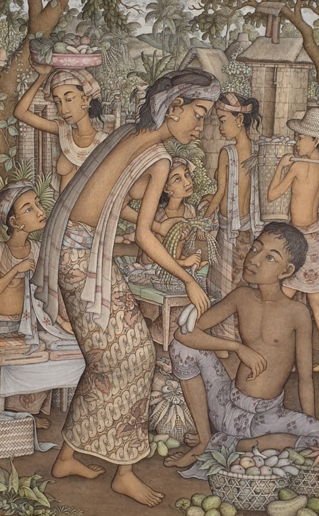 "Lot # 717 ""Suasana Pasar"" Wayan Djudjul (1942 - 2008 Ubud) Acrylic on Canvas, 85 x 55cm. Image Courtesy of Larasati Auctioneers."