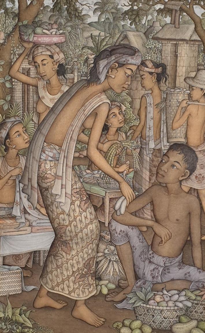 "Lot # 717 ""Suasana Pasar"" Wayan Djudjul (1942 - 2008 Ubud) Acrylic on Canvas, 85 x 55cm. Image Courtesy of Larasati Auctioneers."
