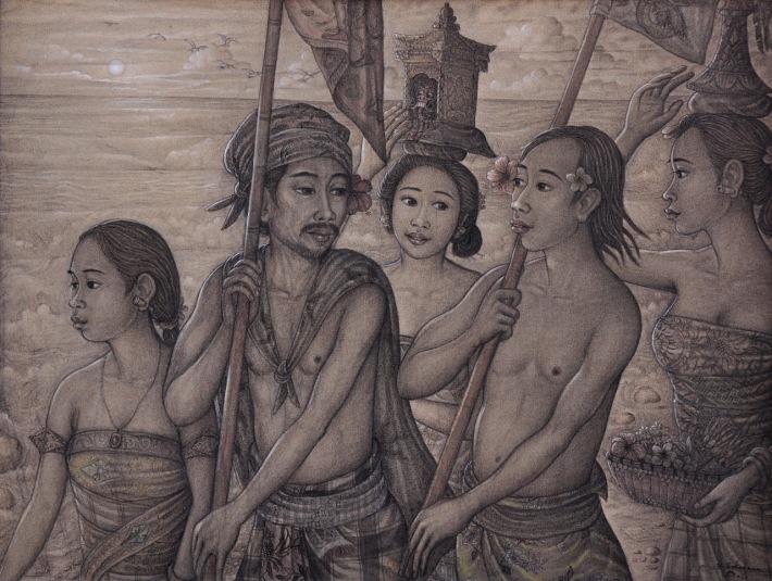 "Lot 720 ""Iringan Melasti"" Made Sukadana. Image coutesy of Larasati Auctioneers"