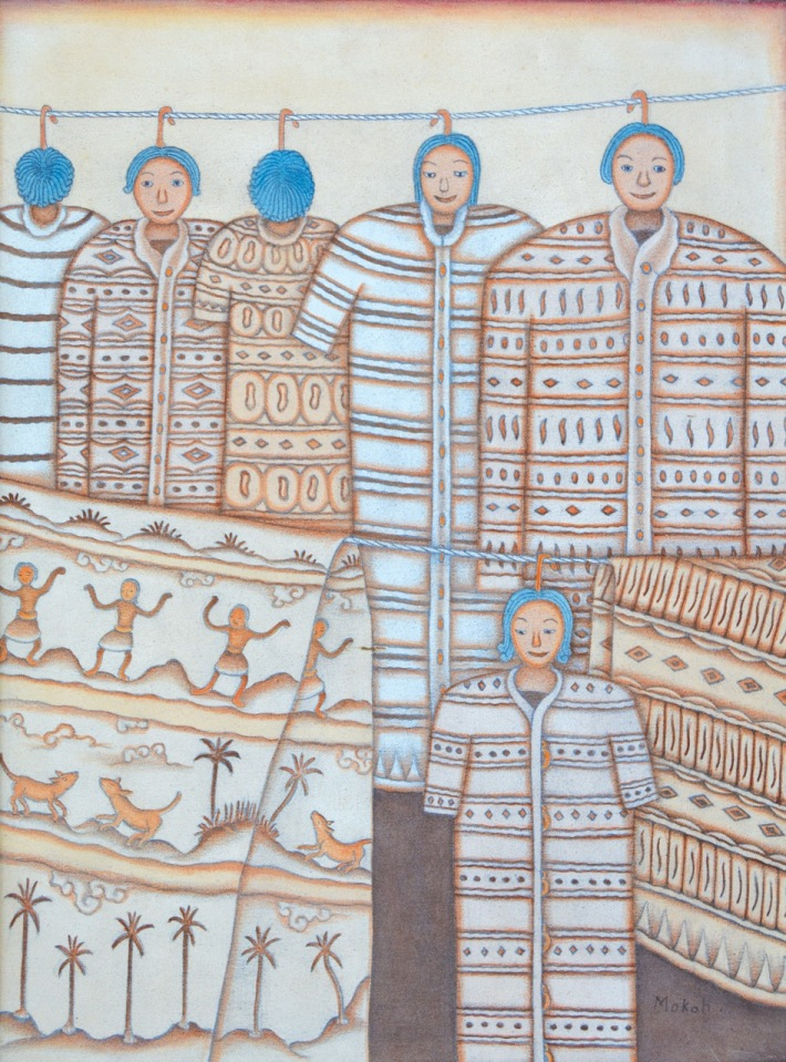 "Lot # 739 ""Berjamur Pakian"" 2001 Dewa Putu Mokoh (1934 - 2010 Pengosekan) Acrylic on Canvas, 80 x 60 cm. Image Courtesy of Larasati Auctioneers"