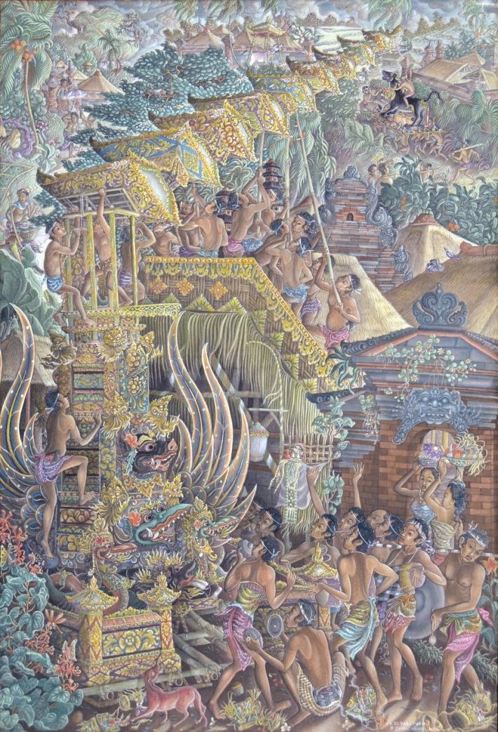 "Lot # 782 ""Mendirikan Menara Bade"" 1983 Anak Agung Gede Raka Pudja (1932 - 2016, Padang Tegal, Ubud), Acrylic on Canvas, 114 - 79 cm. Image Courtesy of Larasati Auctioneers"