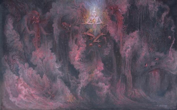 "Lot 784 ""Mythical Scene"" Ketut Budiana. Image coutesy of Larasati Auctioneers"