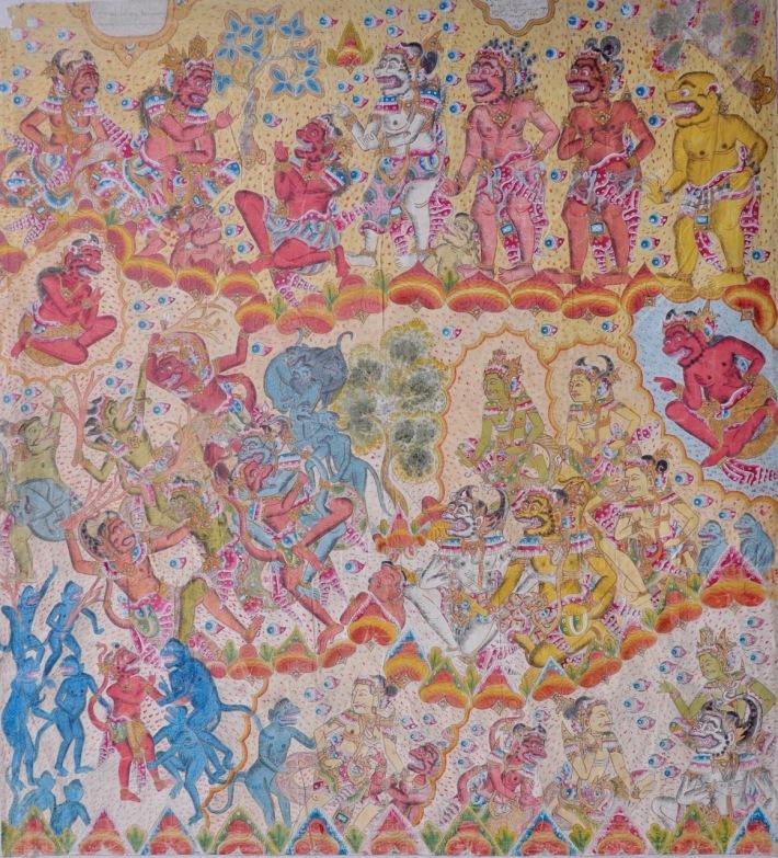 "Lot # 791 ""Bayu Satu Duta"" Tjokorda Oka Gambir (1902 - 1975 Peliatan) Natural pigments on cloth, 162.5 x 150 cm. Image courtesy of Larasati Auctioneers"