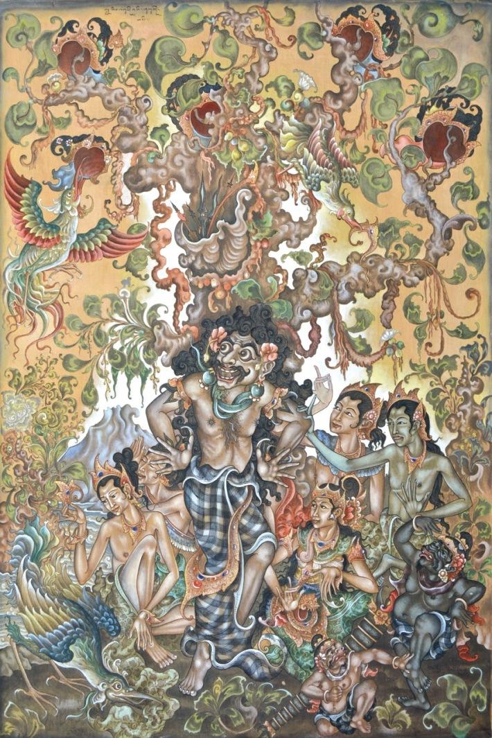 "Lot #792 ""Pandawa dalam Pengasian"" Ida Bagus Rai (1933 - 2007 Padang Tegal, Ubud) Acrylic on Canvas, 165 x 110 cm. Image Courtesy of Larasati Auctioneers"