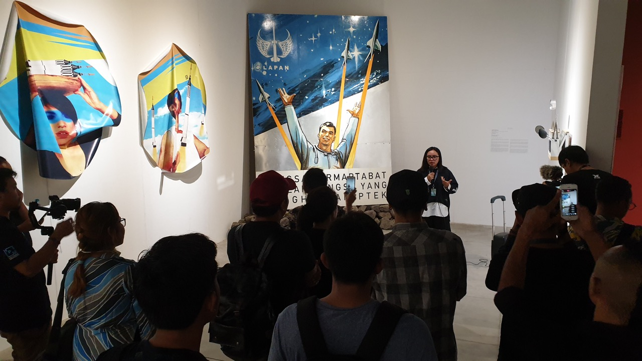 Art Bali co-curator Ignatia Nilu during the Artists & Curator tour 14 October at the AB Bc Building. Image Richard Horstman