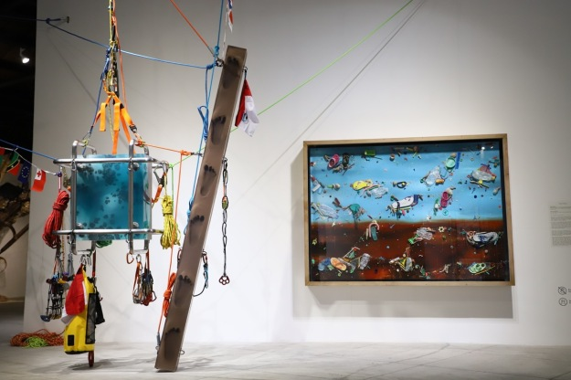 """Floating Ocean Chunk To Be Hauled Up Mountain High Desert, Forest No.1"" & ""Flotsam Painting No.2 "" 2019 - Ashley Bickerton. Image courtesy of art Bali"
