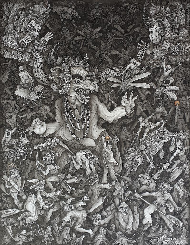 'Teknologi Penemuam Yang Membunuh' 2018 Putu Adi, Acrylic and ink on paper, 33 x 25.5 cm Image Richard Horstman